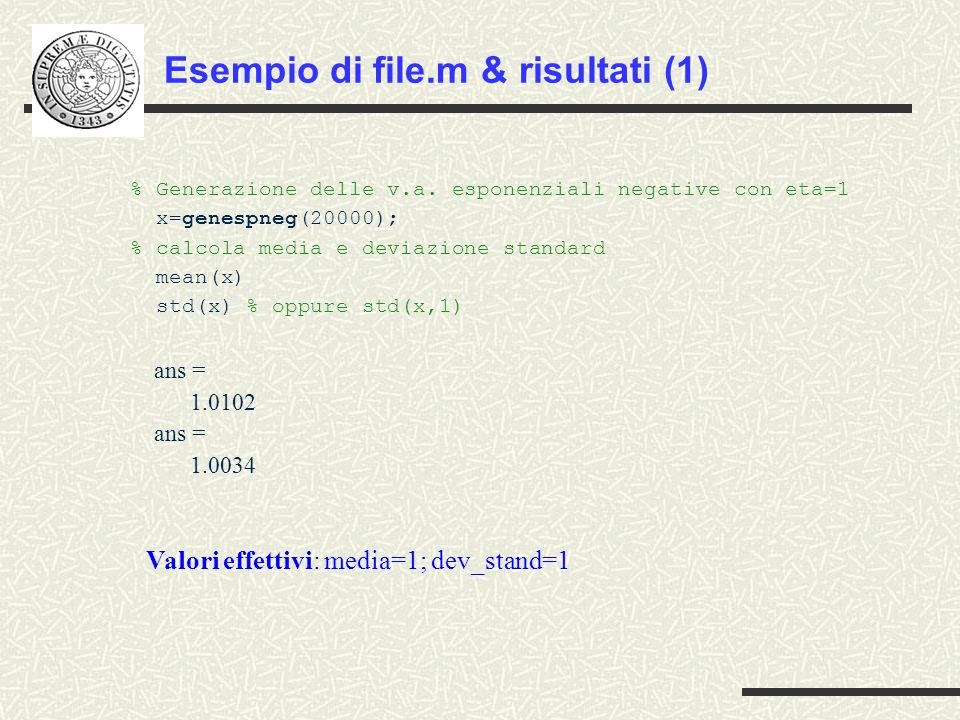 Esempio di file.m & risultati (1)