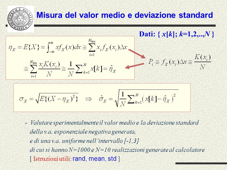 Misura del valor medio e deviazione standard
