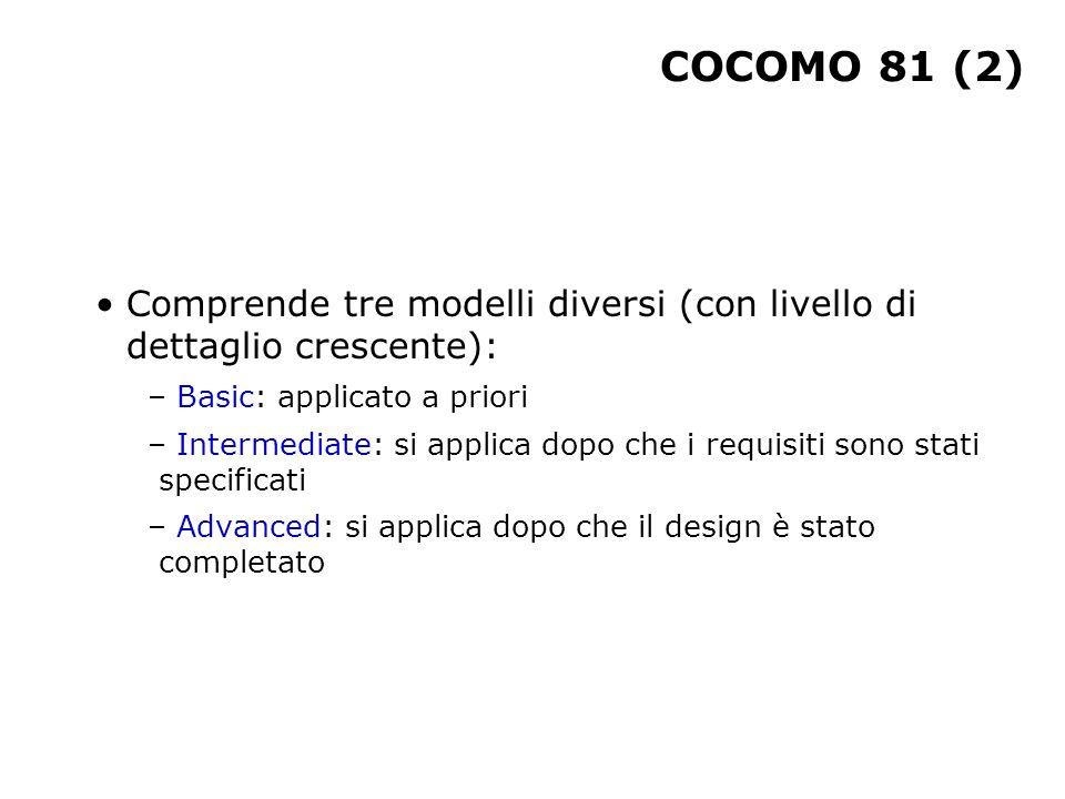 COCOMO 81 (2) Comprende tre modelli diversi (con livello di dettaglio crescente): Basic: applicato a priori.