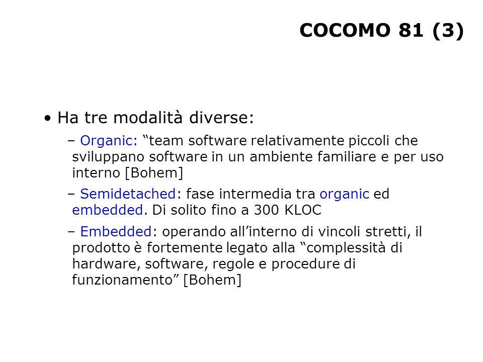 COCOMO 81 (3) Ha tre modalità diverse: