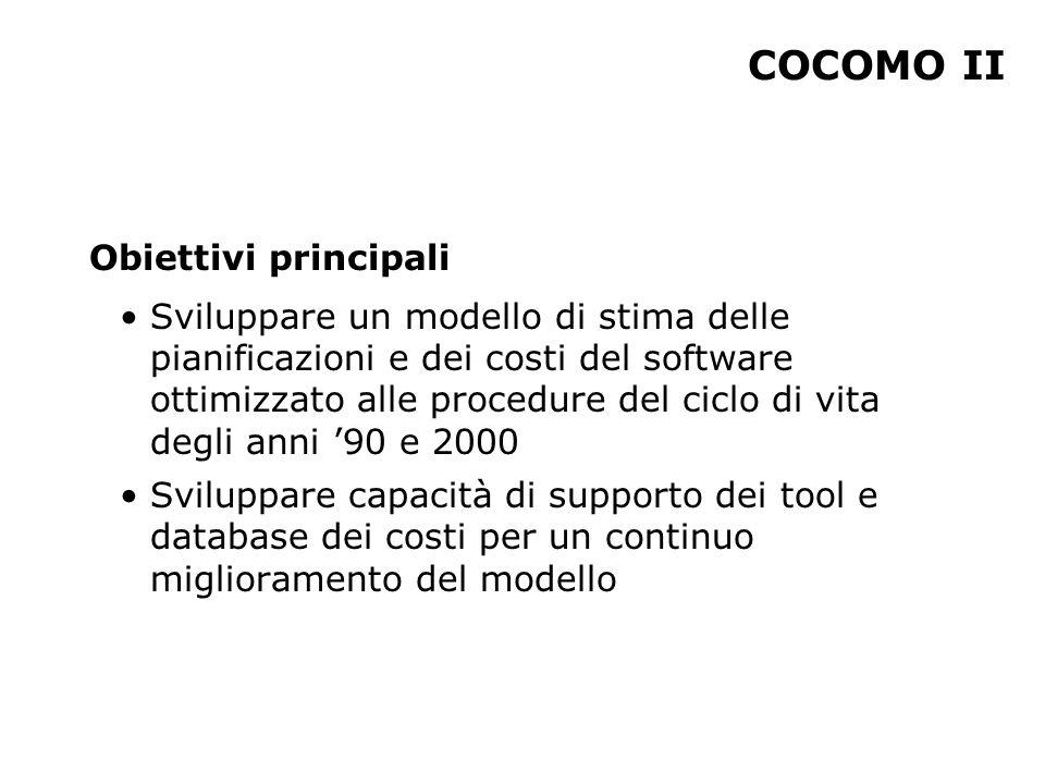 COCOMO II Obiettivi principali