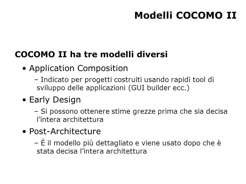 Modelli COCOMO II COCOMO II ha tre modelli diversi
