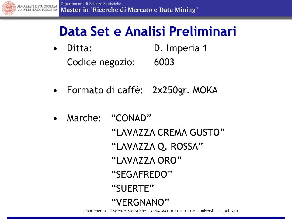 Data Set e Analisi Preliminari