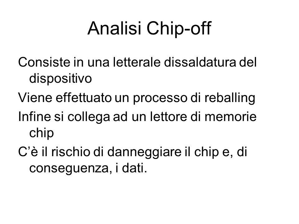 Analisi Chip-off Consiste in una letterale dissaldatura del dispositivo. Viene effettuato un processo di reballing.