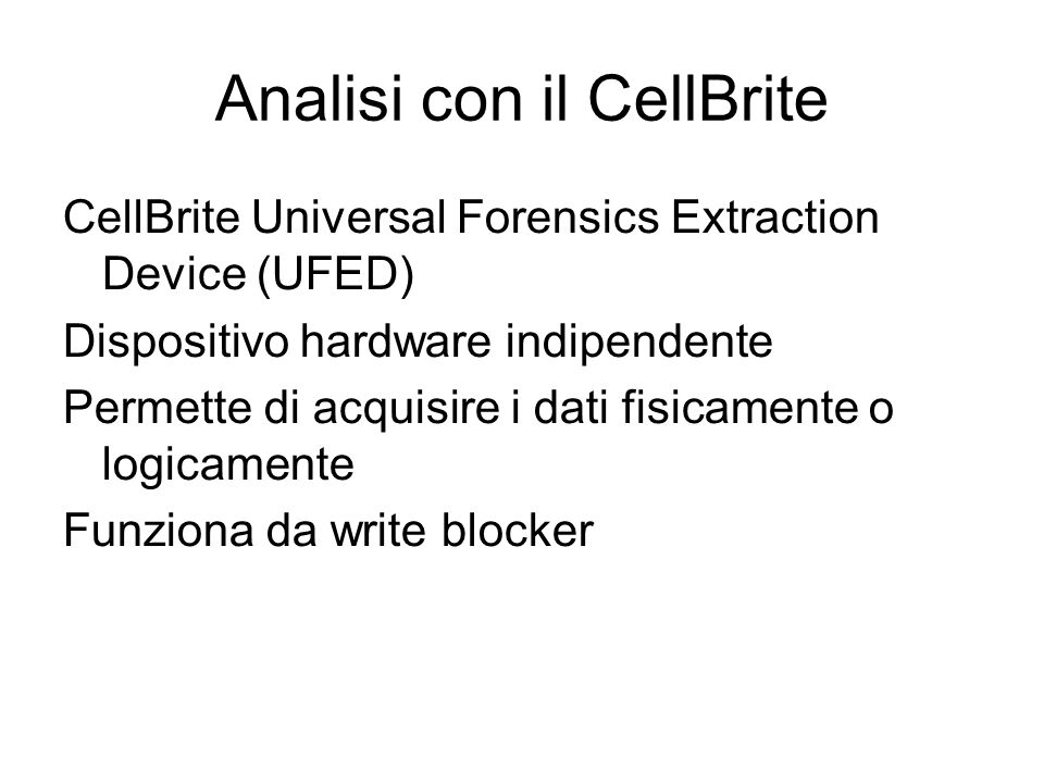 Analisi con il CellBrite