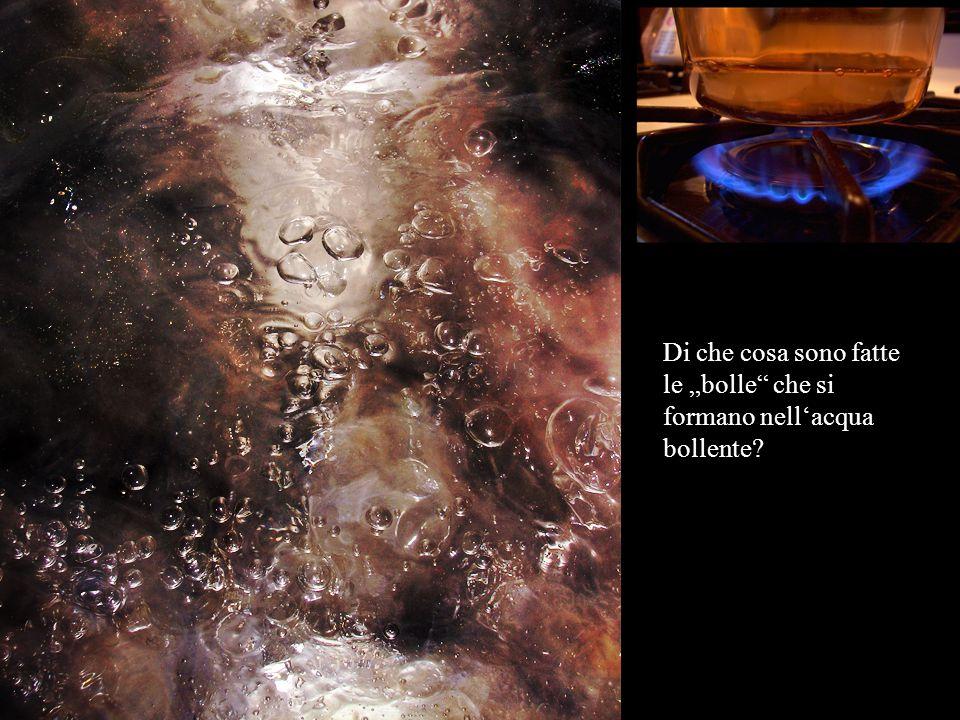 """Di che cosa sono fatte le """"bolle che si formano nell'acqua bollente"""