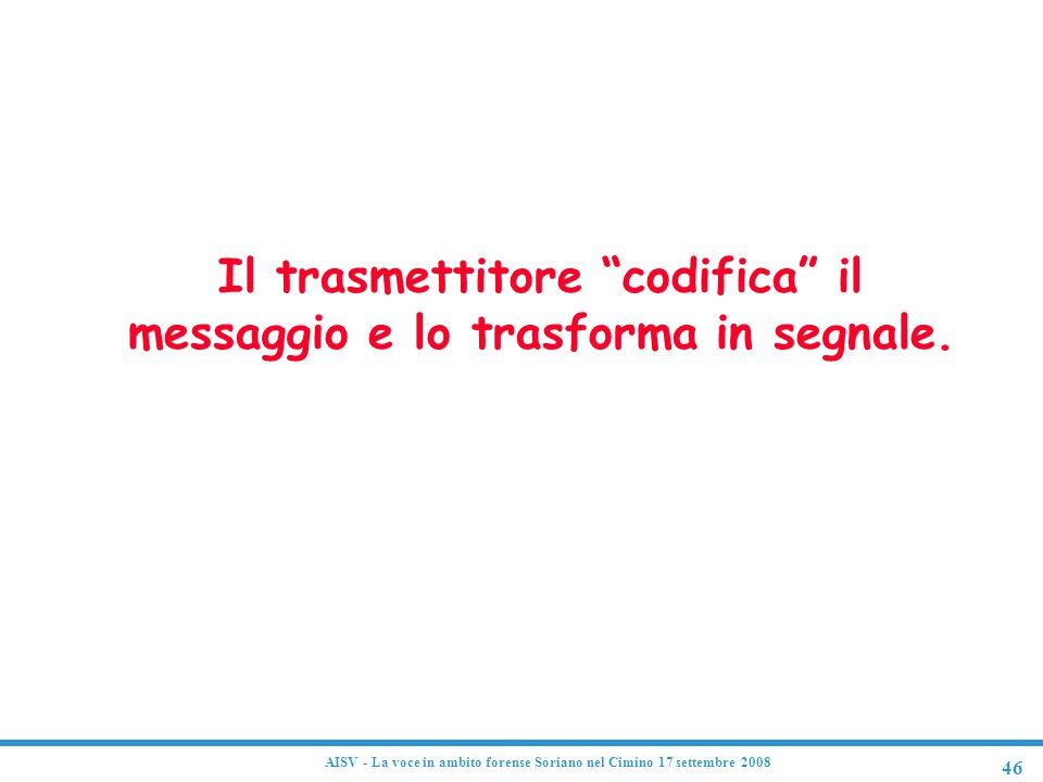 Codifica Il trasmettitore codifica il messaggio e lo trasforma in segnale.