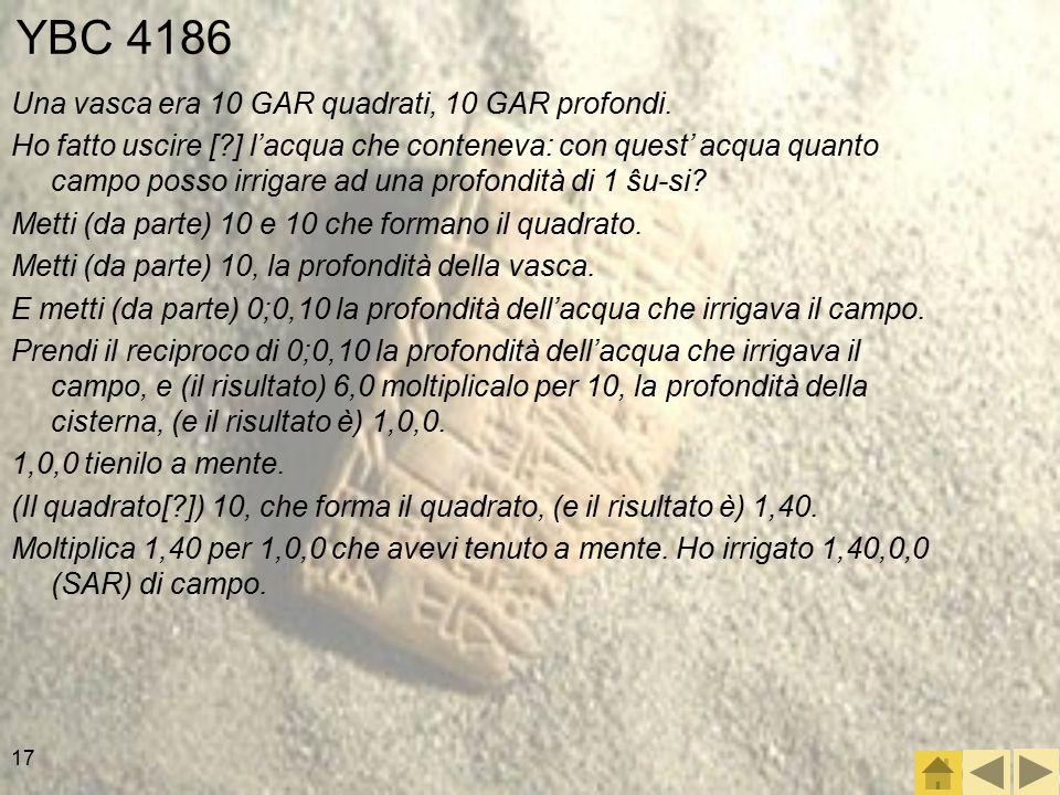 YBC 4186 Una vasca era 10 GAR quadrati, 10 GAR profondi.