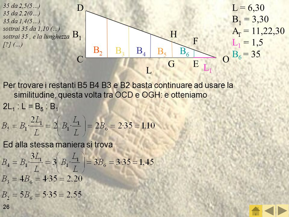 L1 L B1 B2 B3 B4 B5 B6 O C D F E L = 6,30 B1 = 3,30 AT = 11,22,30