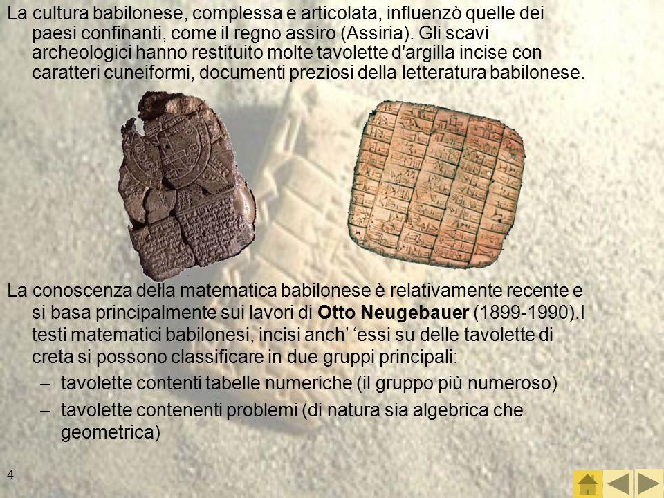 La cultura babilonese, complessa e articolata, influenzò quelle dei paesi confinanti, come il regno assiro (Assiria). Gli scavi archeologici hanno restituito molte tavolette d argilla incise con caratteri cuneiformi, documenti preziosi della letteratura babilonese.