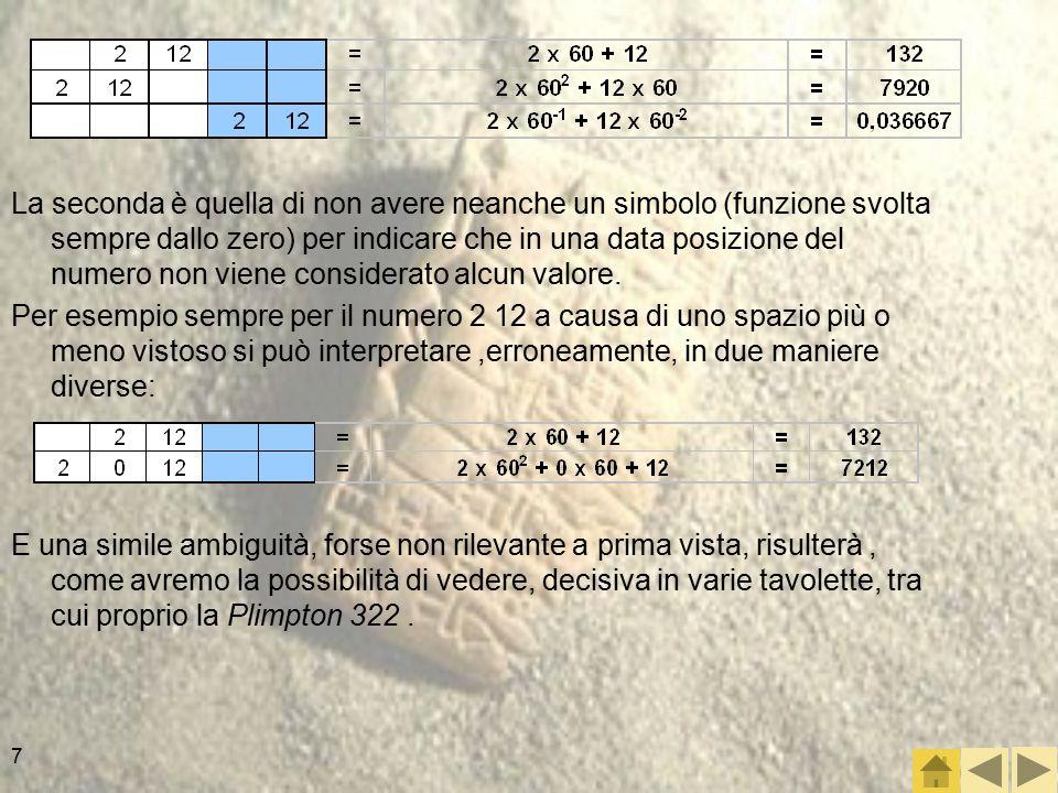 La seconda è quella di non avere neanche un simbolo (funzione svolta sempre dallo zero) per indicare che in una data posizione del numero non viene considerato alcun valore.
