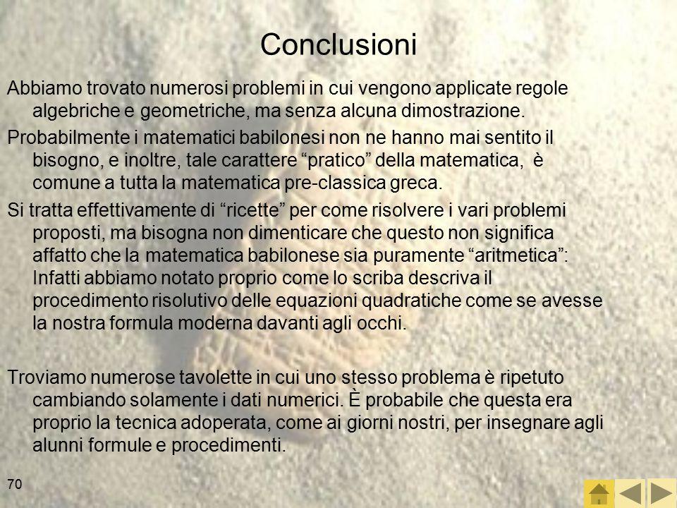 Conclusioni Abbiamo trovato numerosi problemi in cui vengono applicate regole algebriche e geometriche, ma senza alcuna dimostrazione.