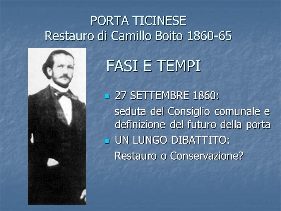PORTA TICINESE Restauro di Camillo Boito 1860-65 FASI E TEMPI