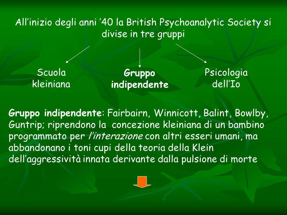 All'inizio degli anni '40 la British Psychoanalytic Society si divise in tre gruppi