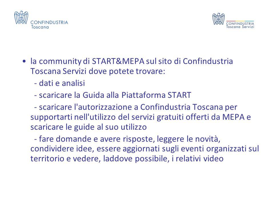 la community di START&MEPA sul sito di Confindustria Toscana Servizi dove potete trovare: