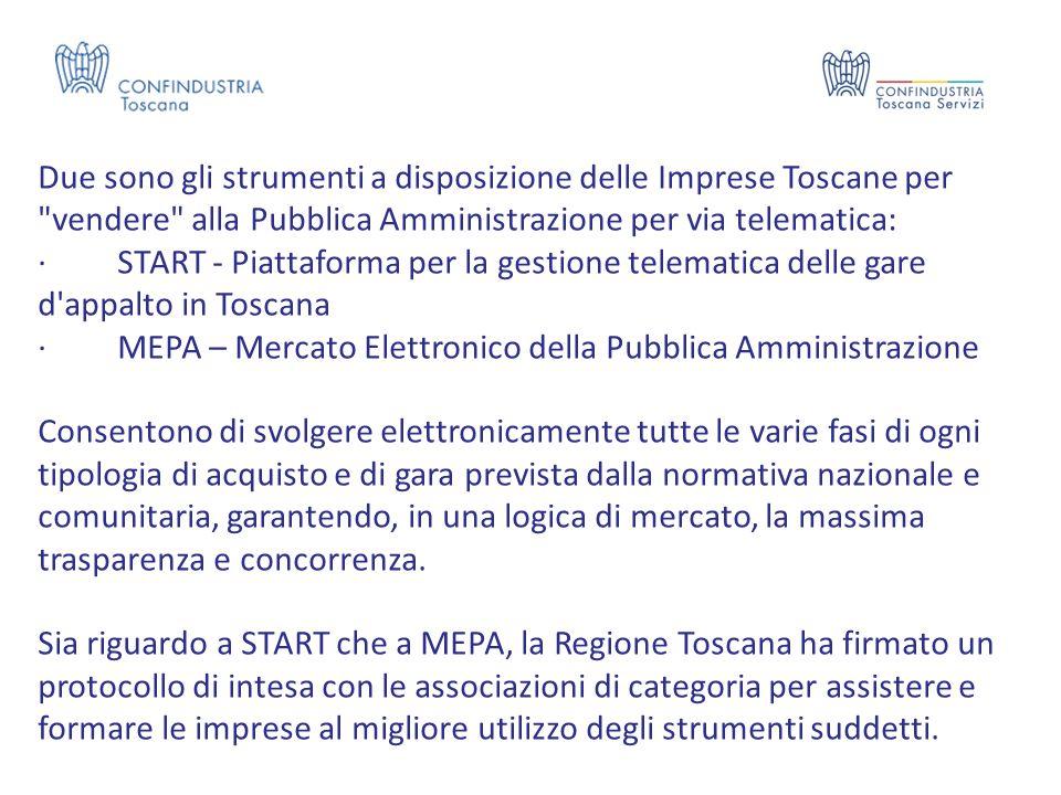 Due sono gli strumenti a disposizione delle Imprese Toscane per vendere alla Pubblica Amministrazione per via telematica: