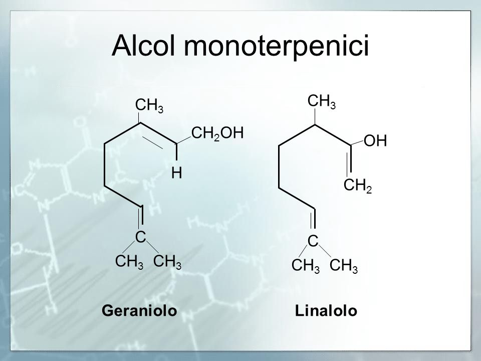 Alcol monoterpenici CH3 CH3 CH2OH OH H CH2 C C CH3 CH3 CH3 CH3