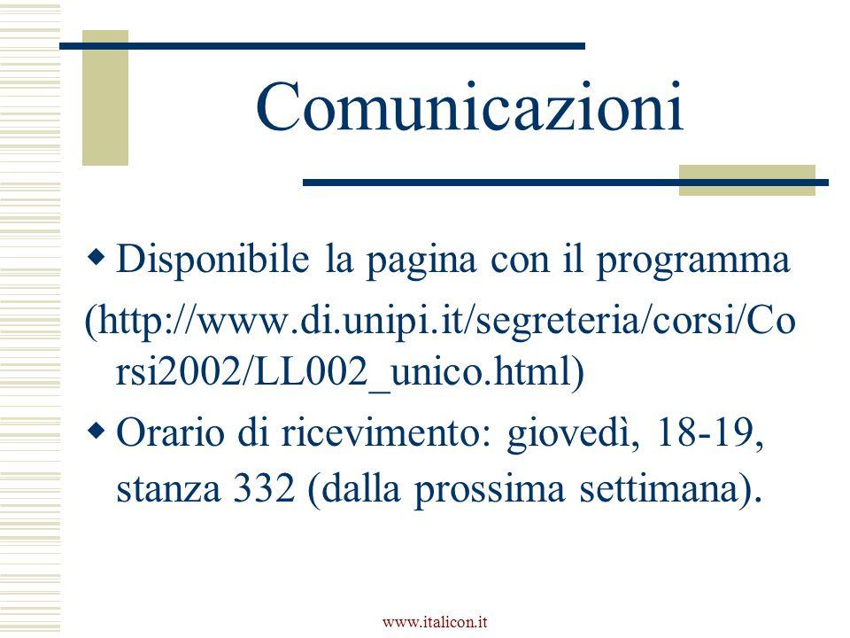 Comunicazioni Disponibile la pagina con il programma
