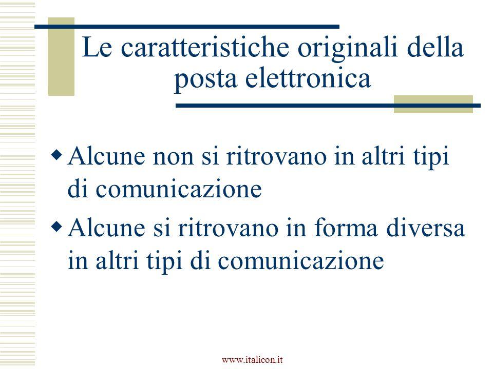 Le caratteristiche originali della posta elettronica