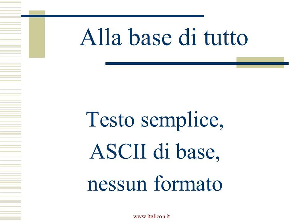 Alla base di tutto Testo semplice, ASCII di base, nessun formato