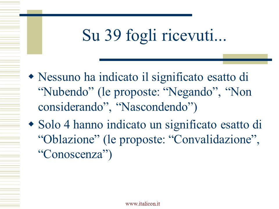 Su 39 fogli ricevuti... Nessuno ha indicato il significato esatto di Nubendo (le proposte: Negando , Non considerando , Nascondendo )