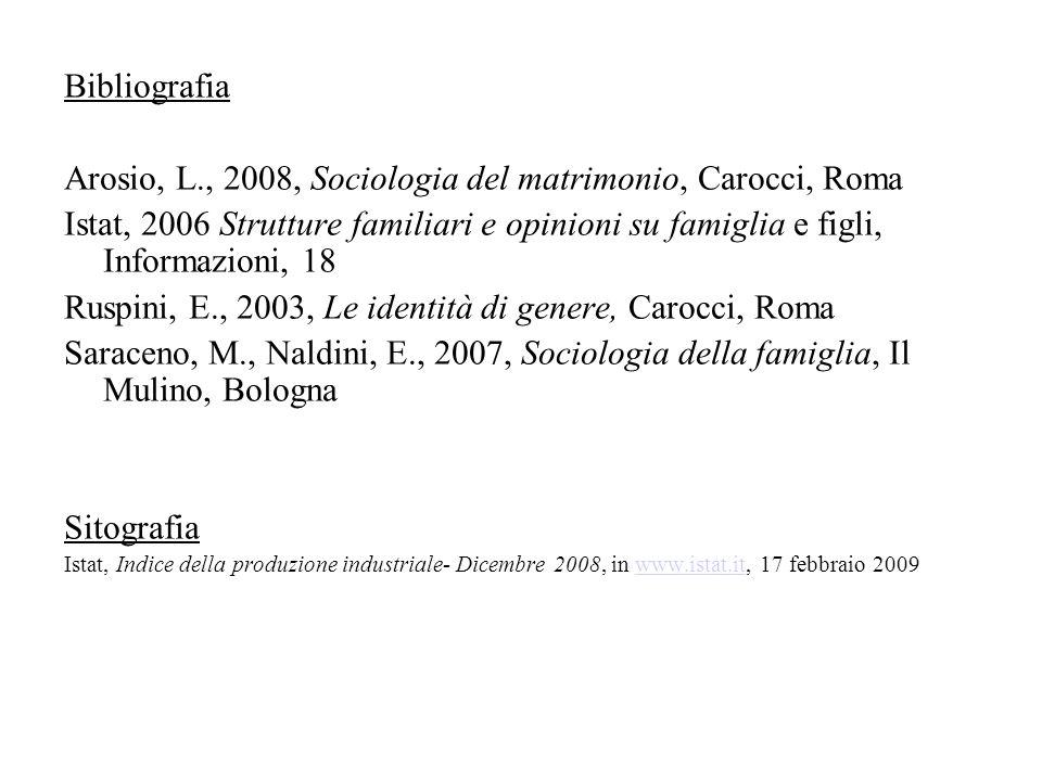 Arosio, L., 2008, Sociologia del matrimonio, Carocci, Roma
