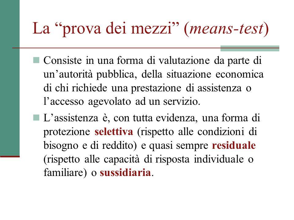 La prova dei mezzi (means-test)