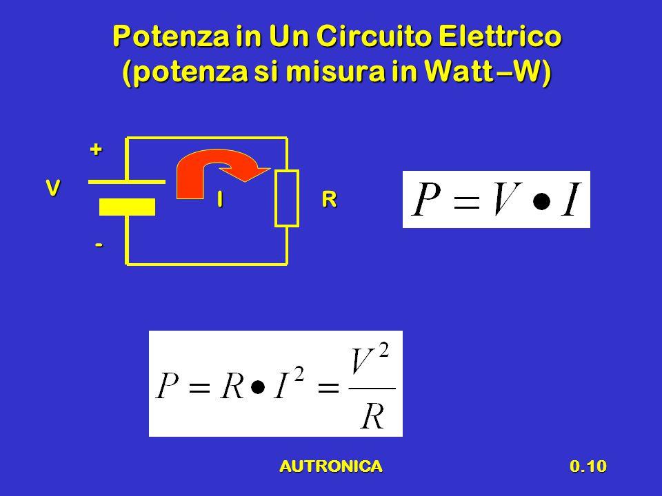 Potenza in Un Circuito Elettrico (potenza si misura in Watt –W)
