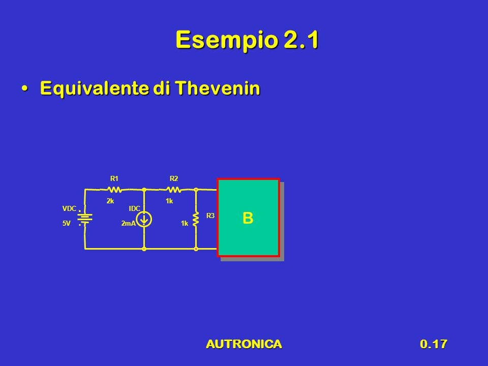 Esempio 2.1 Equivalente di Thevenin B AUTRONICA R1 R2 2k 1k VDC IDC R3