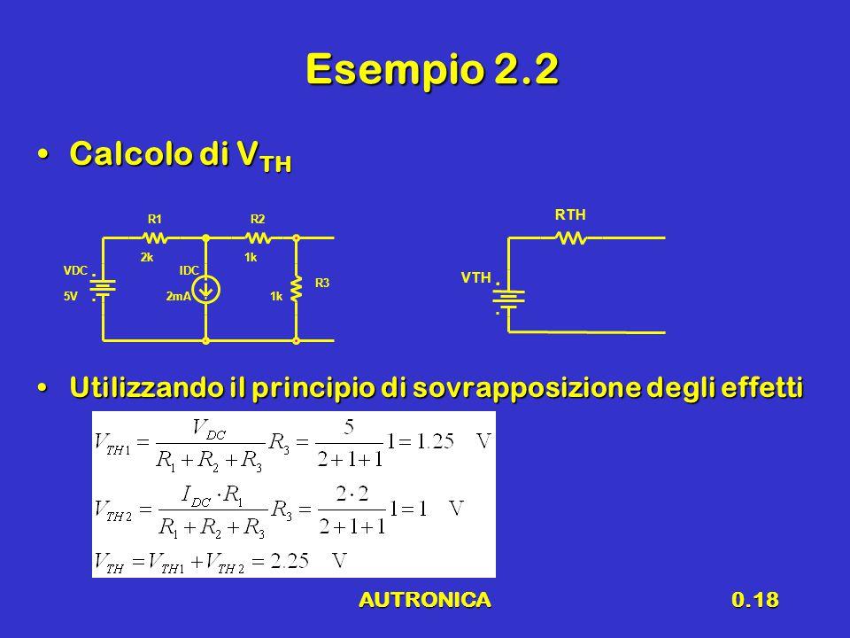 Esempio 2.2 Calcolo di VTH. Utilizzando il principio di sovrapposizione degli effetti. R1. R2. RTH.