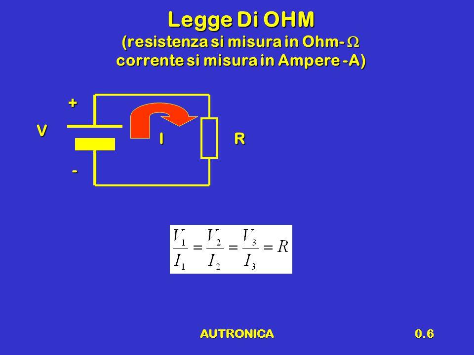 Legge Di OHM (resistenza si misura in Ohm-  corrente si misura in Ampere -A)