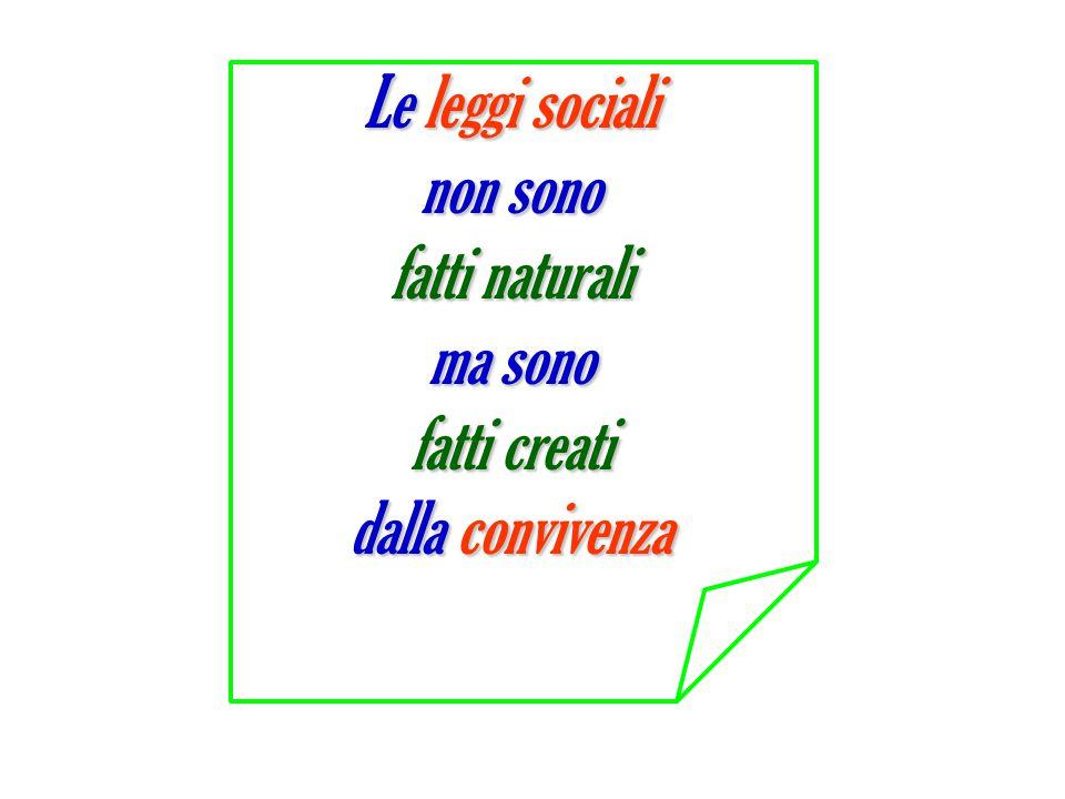 Le leggi sociali non sono fatti naturali ma sono fatti creati dalla convivenza