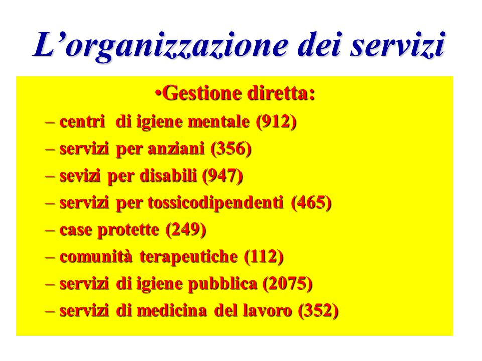 L'organizzazione dei servizi