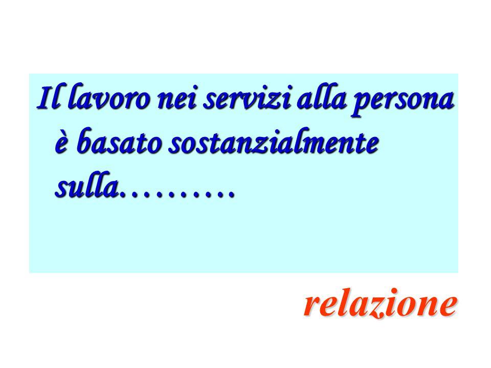 Il lavoro nei servizi alla persona è basato sostanzialmente sulla……….