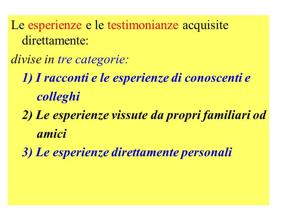 Le esperienze e le testimonianze acquisite direttamente: