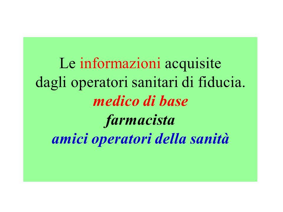 Le informazioni acquisite dagli operatori sanitari di fiducia