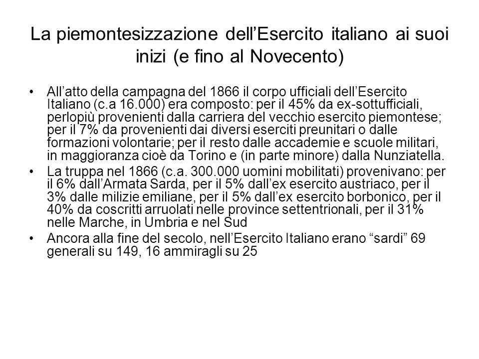 La piemontesizzazione dell'Esercito italiano ai suoi inizi (e fino al Novecento)