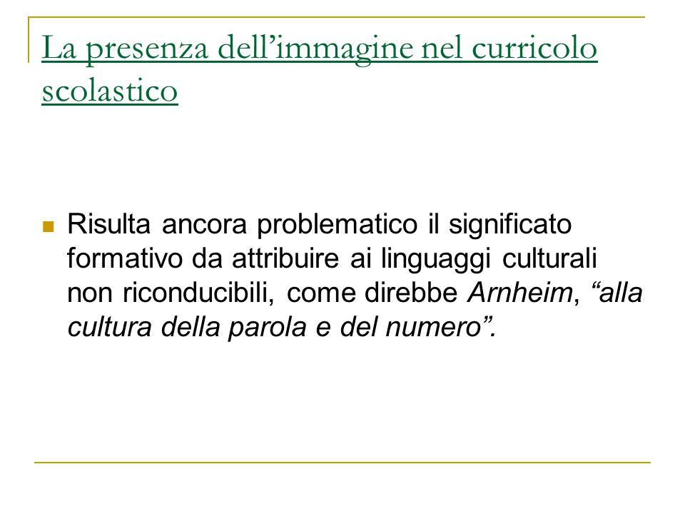 La presenza dell'immagine nel curricolo scolastico