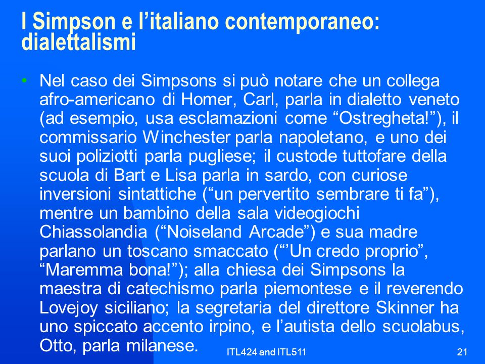 I Simpson e l'italiano contemporaneo: dialettalismi