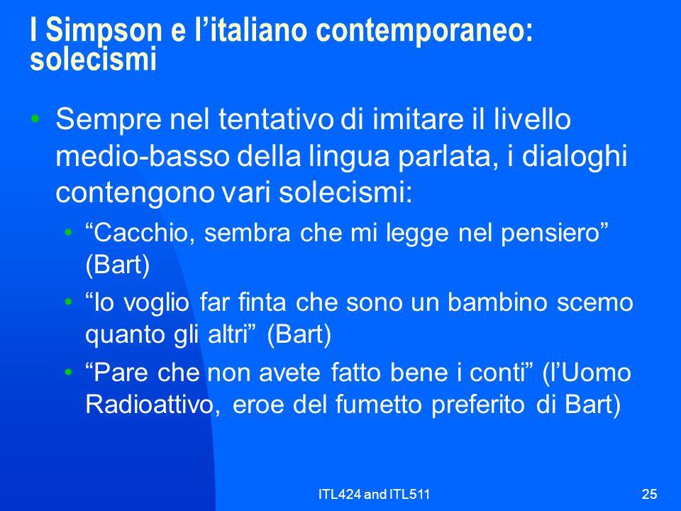 I Simpson e l'italiano contemporaneo: solecismi