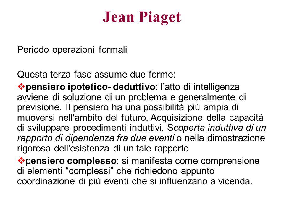 Jean Piaget Periodo operazioni formali