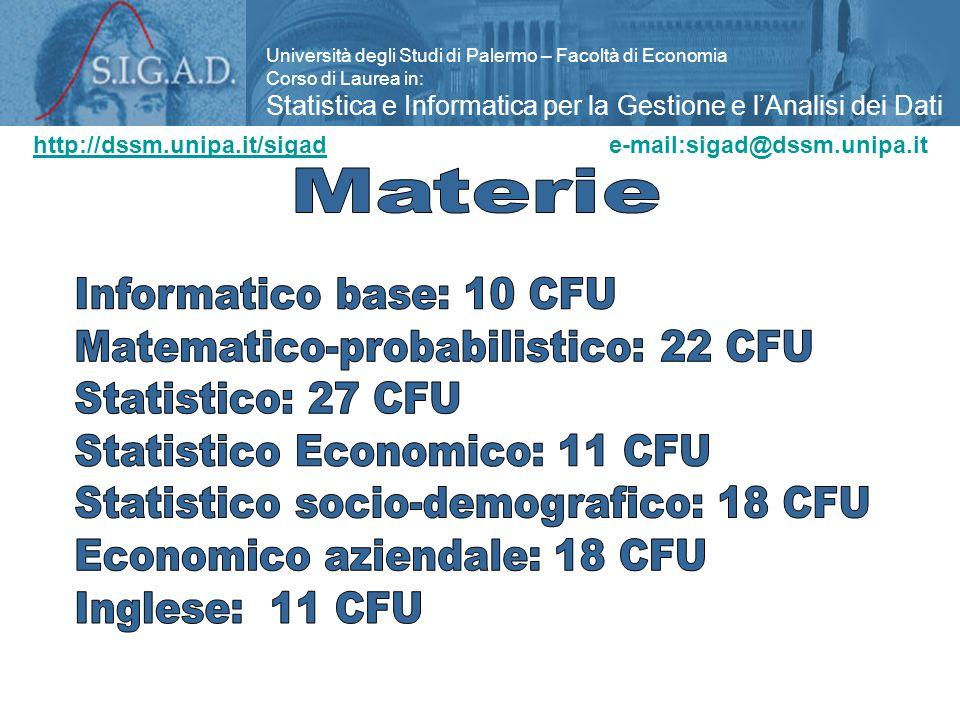 Matematico-probabilistico: 22 CFU Statistico: 27 CFU