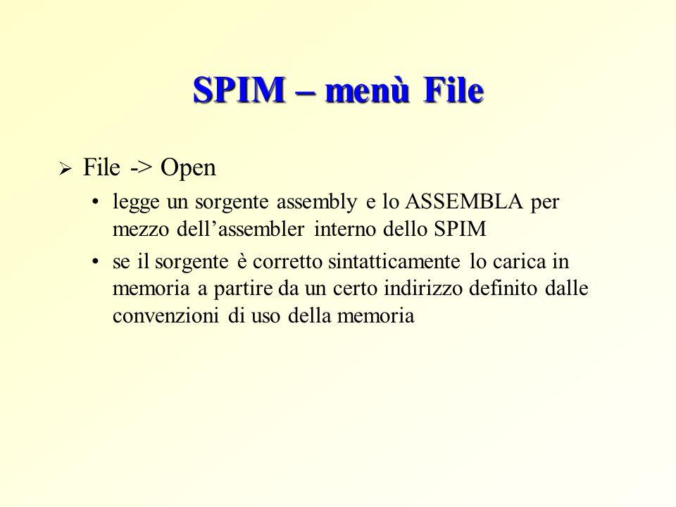 SPIM – menù File File -> Open