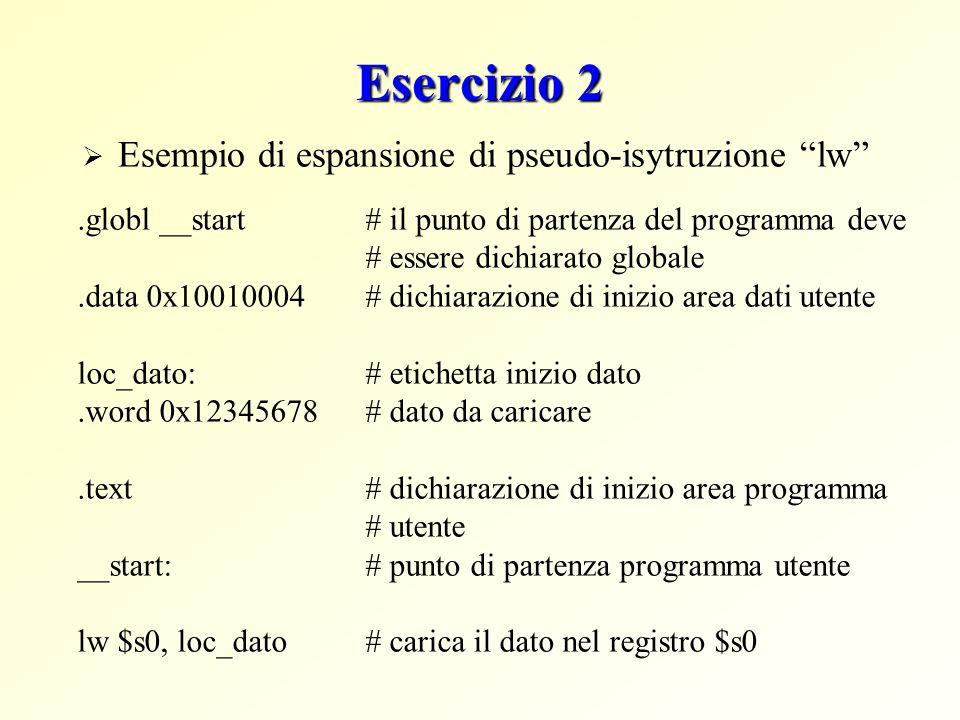 Esercizio 2 Esempio di espansione di pseudo-isytruzione lw