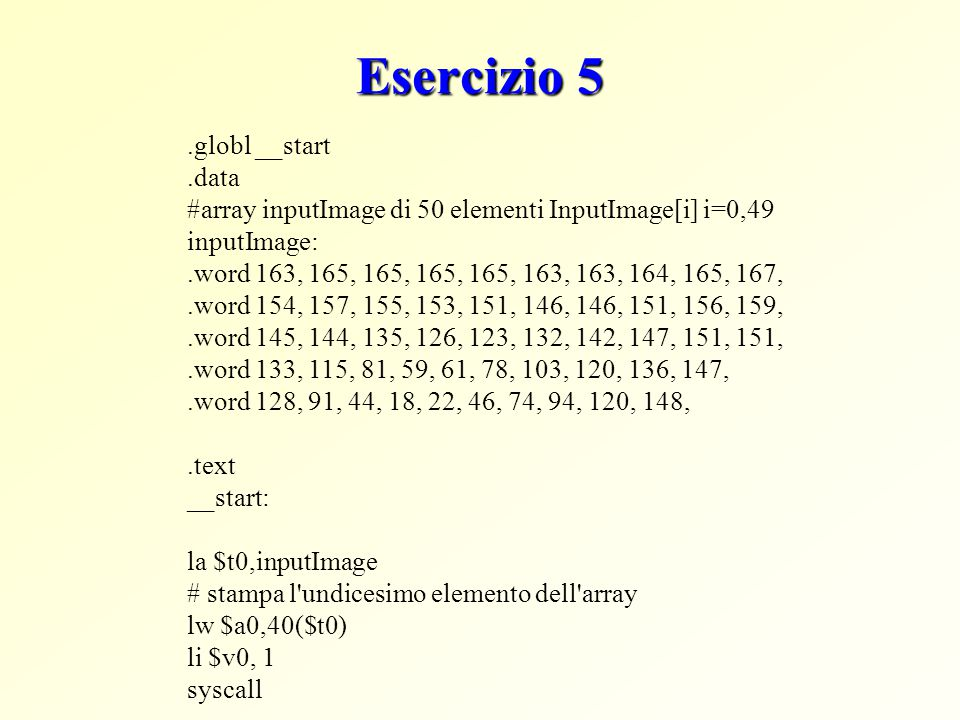 Esercizio 5 .globl __start .data