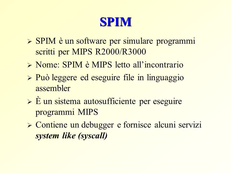 SPIM SPIM è un software per simulare programmi scritti per MIPS R2000/R3000. Nome: SPIM è MIPS letto all'incontrario.