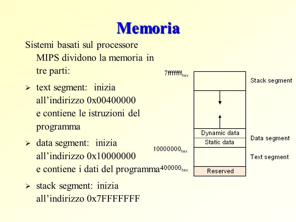 Memoria Sistemi basati sul processore MIPS dividono la memoria in tre parti: