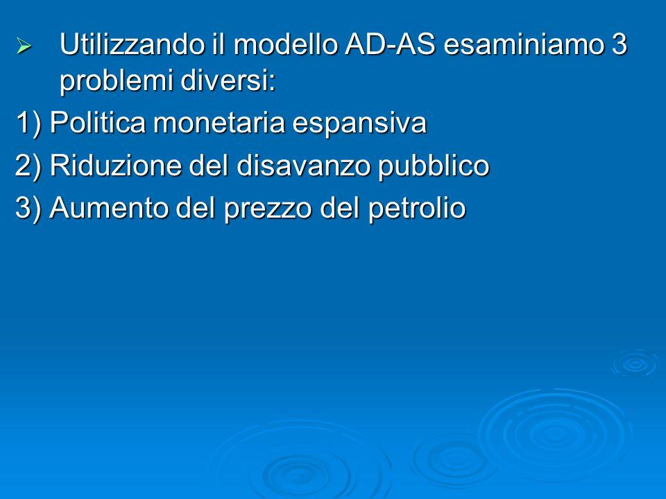 Utilizzando il modello AD-AS esaminiamo 3 problemi diversi: