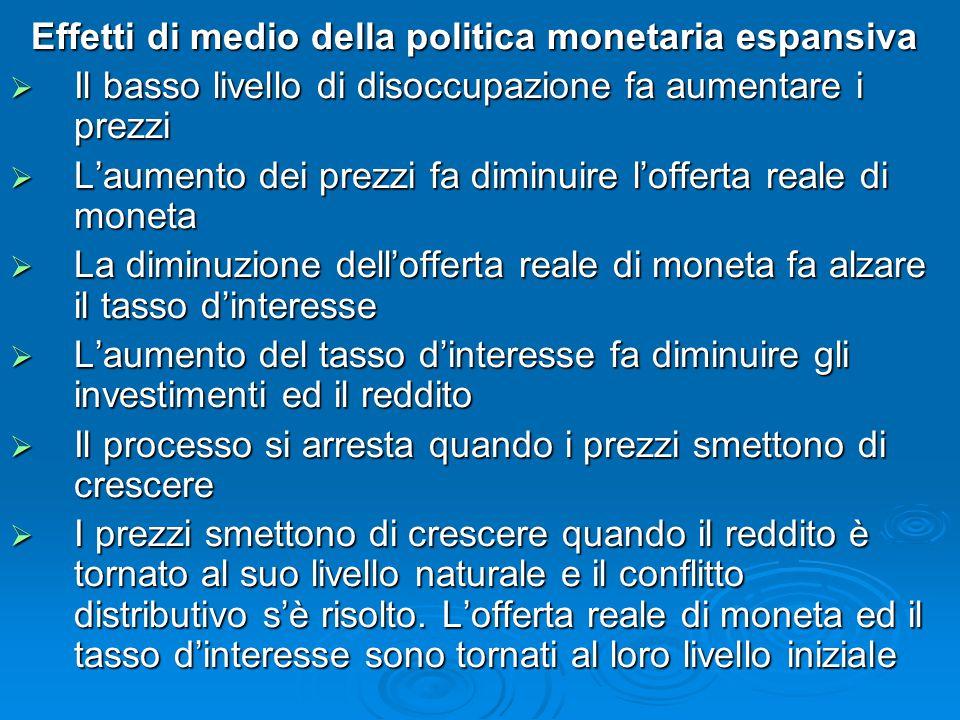 Effetti di medio della politica monetaria espansiva