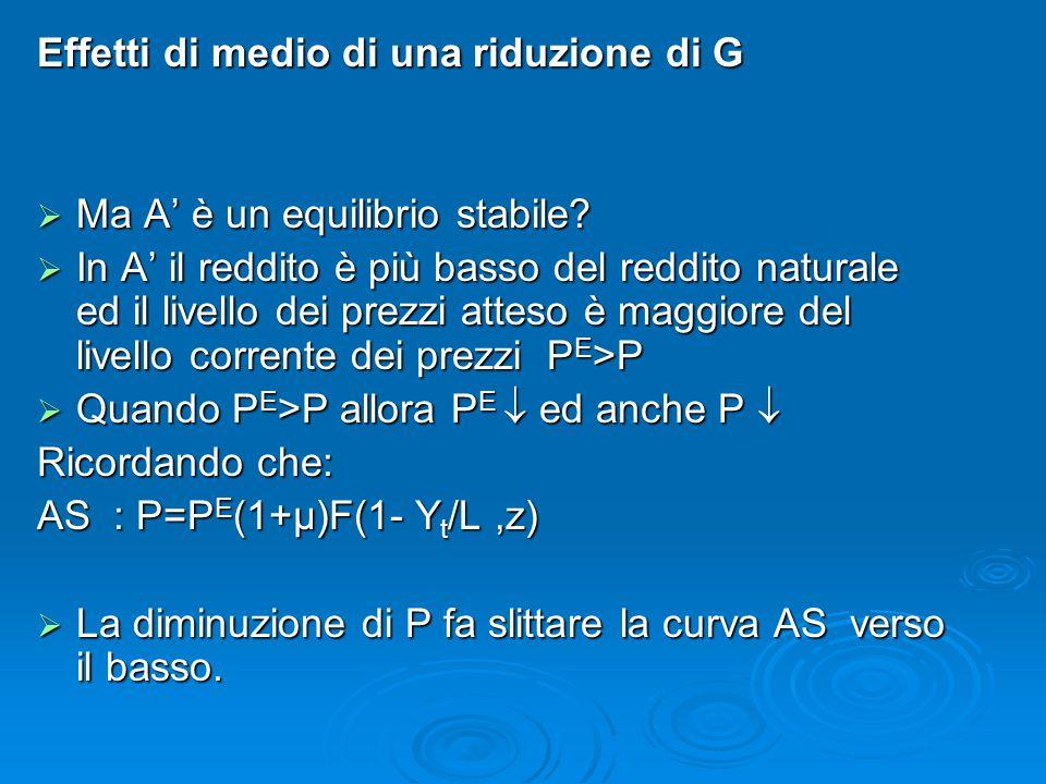 Effetti di medio di una riduzione di G